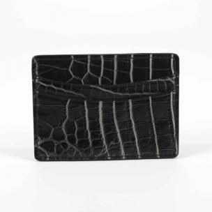 Torino Leather Nile Crocodile Card Case Black / White Image
