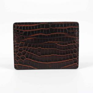 Torino Leather Nile Crocodile Card Case Brown  / Cognac Image