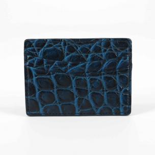 Torino Leather Nile Crocodile Card Case Navy Blue Image