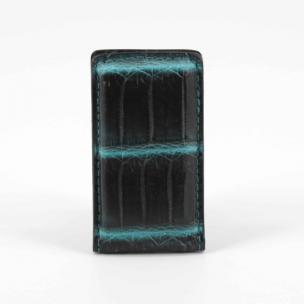 Torino Leather Nile Crocodile Money Clip Black / Turquoise Image
