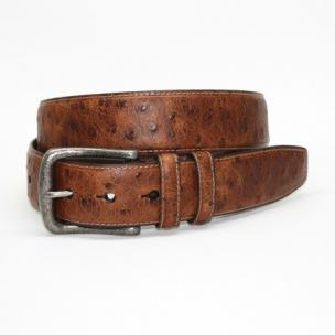 Torino Leather Ostrch Embossed Calfskin Belt Cognac Image