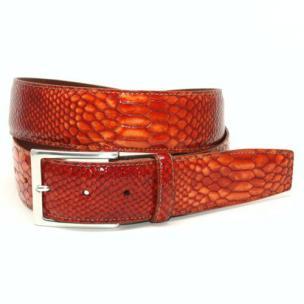Torino Leather Python Embossed Calf Belt Orange Image