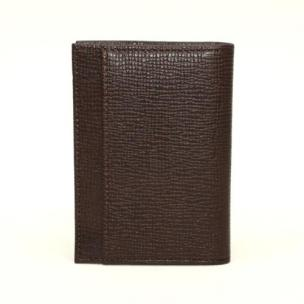 Torino Leather Saffiano Calfskin Card Case Brown Image