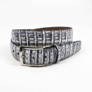 Torino Leather South American Caiman Belt White / Black Image