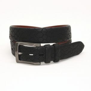 Torino Leather Stone Etched Calfskin Belt Black Image