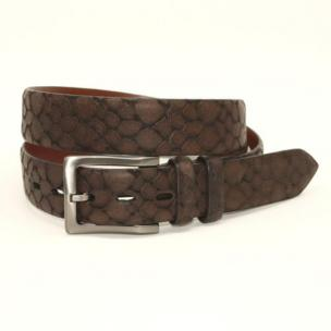 Torino Leather Stone Etched Calfskin Belt Brown Image