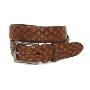 Torino Leather Stone Etched Calfskin Belt Cognac Image