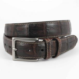 Torino Leather Vintage South American Caiman Belt Dark Brown Image