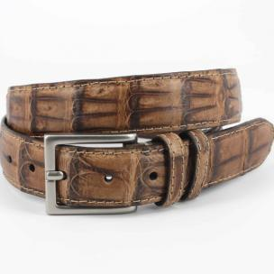 Torino Leather Vintage South American Caiman Belt Saddle Image