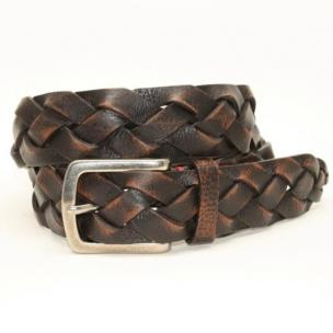 Torino Leather Weathered Glove Braided Belt Brown Image