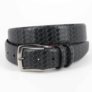 Torino Leather Woven Belt Black Image