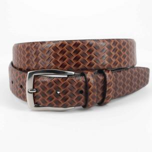 Torino Leather Woven Belt Cognac Image