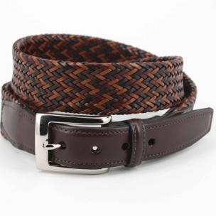 Torino Leather Woven Belt Multicolor Brown Image