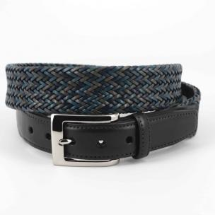 Torino Leather Woven Belt Multicolor Navy Image