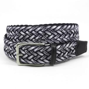 Torino Leather Woven Cotton Elastic Belt Gray / Multi Image