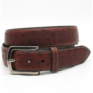 Torino Leather Waxed Ostrich Belt Brandy Image