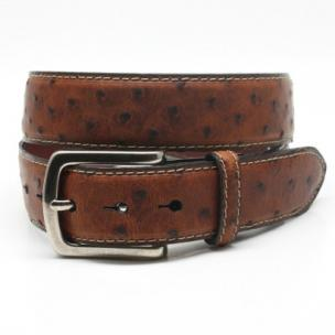Torino Leather Waxed Ostrich Belt Saddle Image