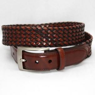 Torino Leather Big & Tall Italian Tubular Braided Kipskin & Cotton Belt  - Cognac/Black Image
