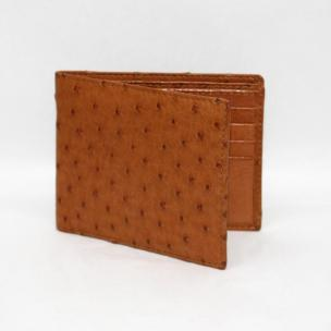 Torino Leather Genuine Ostrich Billfold Wallet - Saddle Image