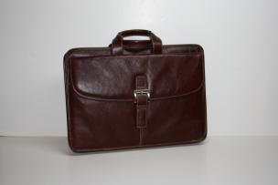 Torino Leather Portfolio Brief in Tumbled Leather - Burnished Brown Image