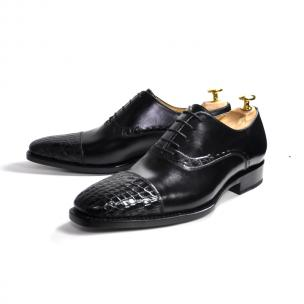 Ugo Vasare Aberto Alligator Cap Toe Oxfords Black Image