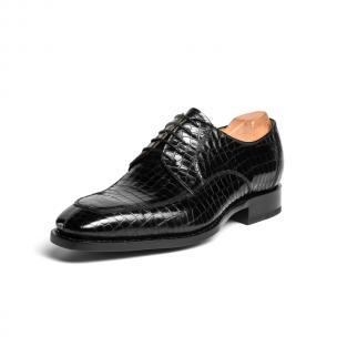 Ugo Vasare Carlton Crocodile Embossed Dress Shoes Black Image