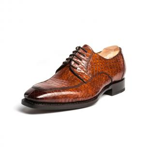 Ugo Vasare Carlton Crocodile Embossed Dress Shoes Brown Image