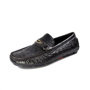 Ugo Vasare Drake Ostrich Driving Loafers Brown Image
