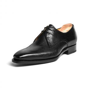 Ugo Vasare El Hud Grained Leather Derby Shoes Black Image