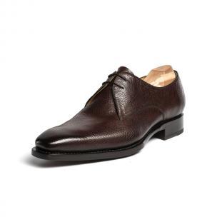 Ugo Vasare El Hud Grained Leather Derby Shoes Brown Image