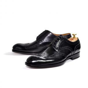 Ugo Vasare H & H Wingtip Brogues Black Image