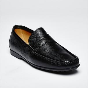 Zelli Alano Deerskin Driving Loafers Black Image