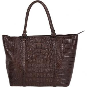 Zelli Allison Genuine Alligator Tote Bag Brown Image