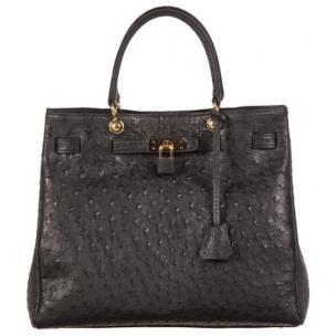 Zelli Anna Genuine Ostrich Tophandle Handbag Black Image