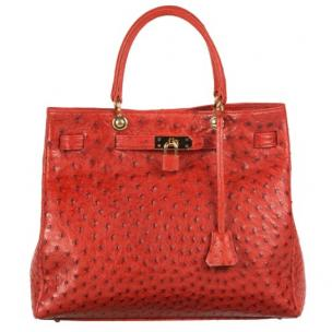 Zelli Anna Genuine Ostrich Tophandle Handbag Red Image