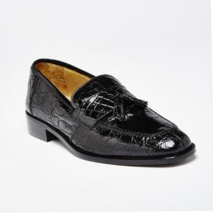 Zelli Crocodile Tassel Loafers Black Image