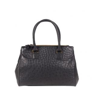 Zelli Bella Genuine Ostrich Handbag Black Image