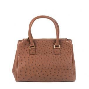 Zelli Bella Genuine Ostrich Handbag Cognac Image