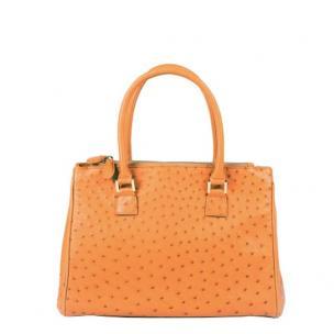 Zelli Bella Genuine Ostrich Handbag Natural Image