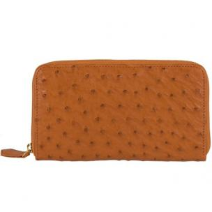 Zelli Camilla Genuine Ostrich Wallet Cognac Image
