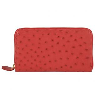 Zelli Camilla Genuine Ostrich Wallet Red Image