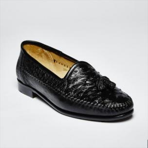 Zelli Capetown Genuine Ostrich Quill Tassel Loafers Black Image