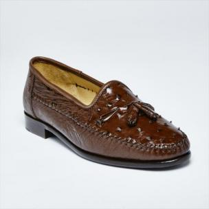 Zelli Capetown Ostrich Quill Tassel Loafers Brown Image