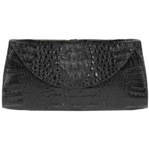 Zelli Capri Genuine Crocodile Clutch Black Image