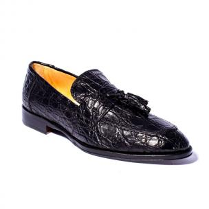 Zelli Como Caiman Crocodile Tassel Loafers Black Image