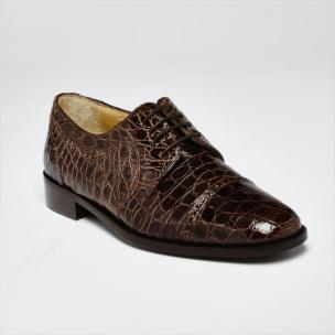 Zelli Da Vinci Cap Toe Crocodile Lace-Up Brown Image