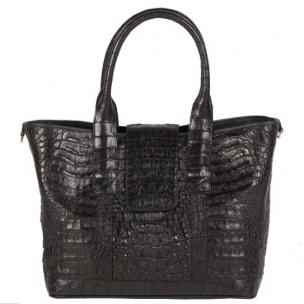 Zelli Francesca Genuine Crocodile Flapover Tote Bag Black Image