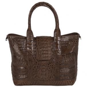 Zelli Francesca Genuine Crocodile Flapover Tote Bag Brown Image