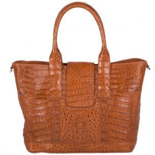 Zelli Francesca Genuine Crocodile Flapover Tote Bag Cognac Image