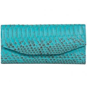 Zelli Georgina Genuine Python Wallet Turquoise Image